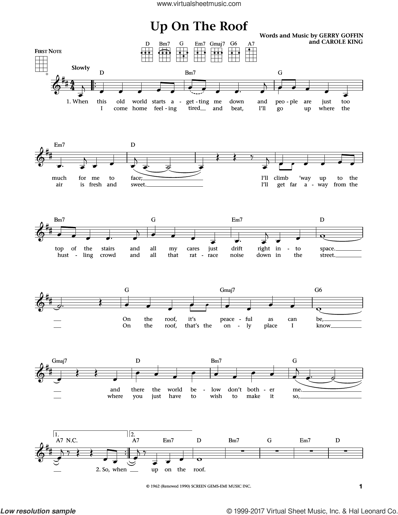 Up On The Roof (from The Daily Ukulele) (arr. Liz and Jim Beloff) sheet music for ukulele by The Drifters, Jim Beloff, Liz Beloff, Carole King and Gerry Goffin, intermediate skill level