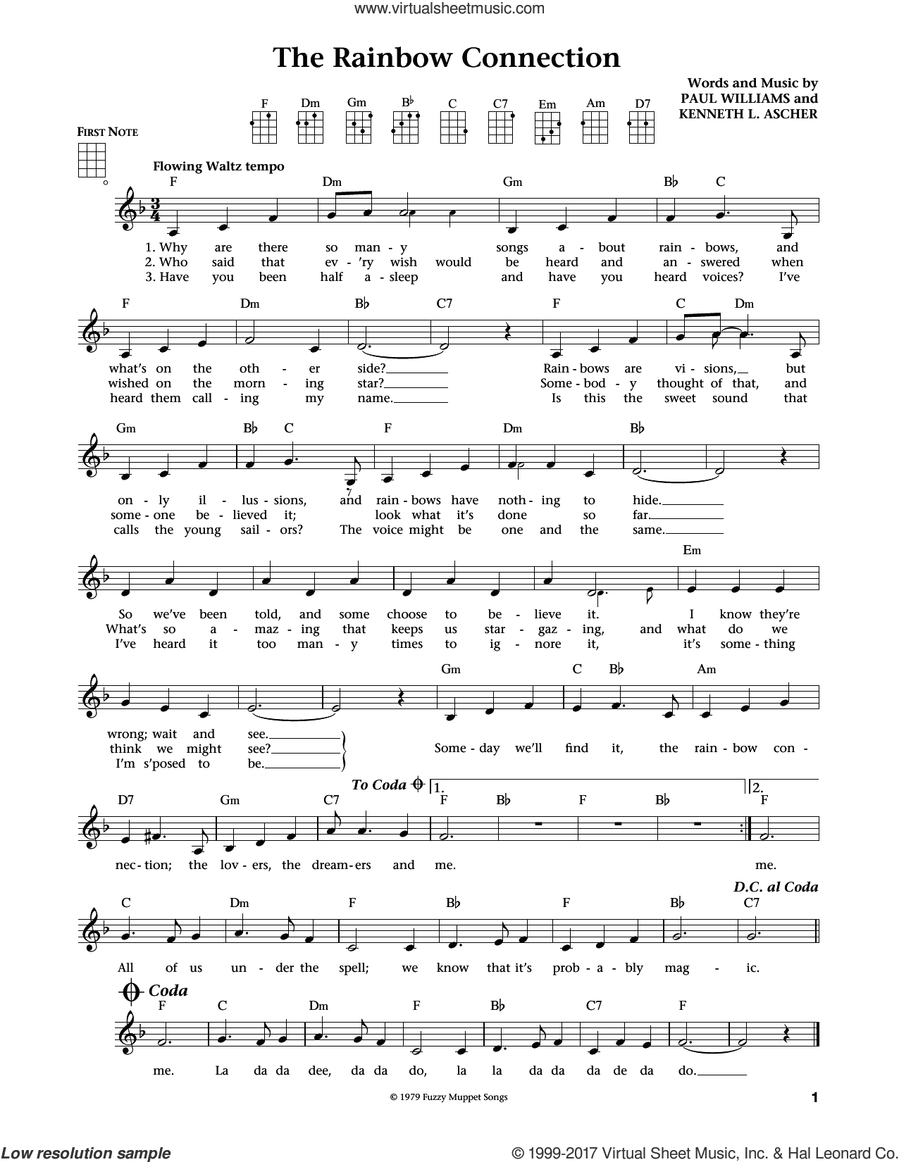 The Rainbow Connection (from The Daily Ukulele) (arr. Liz and Jim Beloff) sheet music for ukulele by Paul Williams, Jim Beloff, Liz Beloff and Kenneth L. Ascher, intermediate skill level