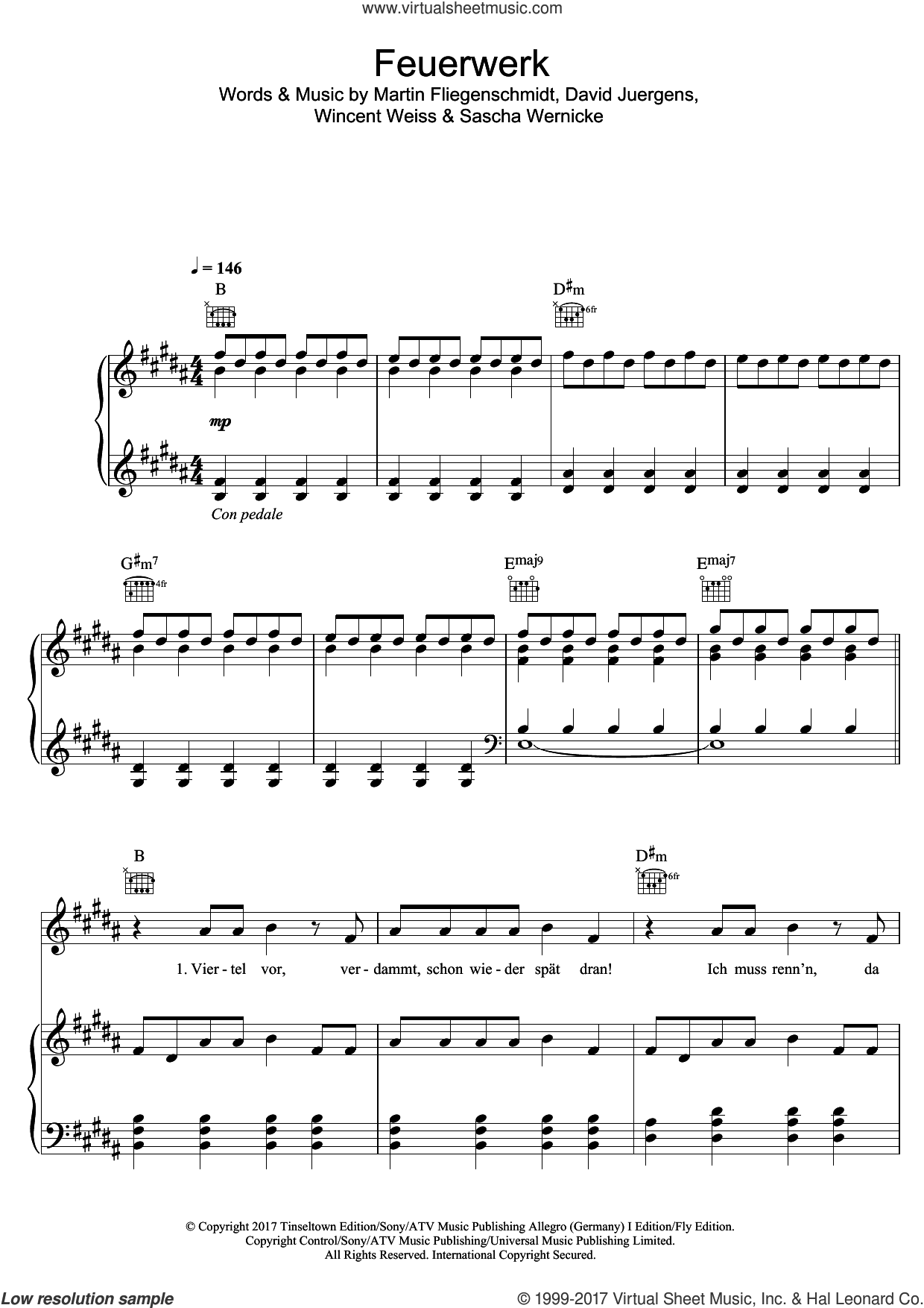 Feuerwerk sheet music for voice, piano or guitar by Wincent Weiss, David Juergens, Martin Fliegenschmidt and Sascha Wernicke, intermediate skill level