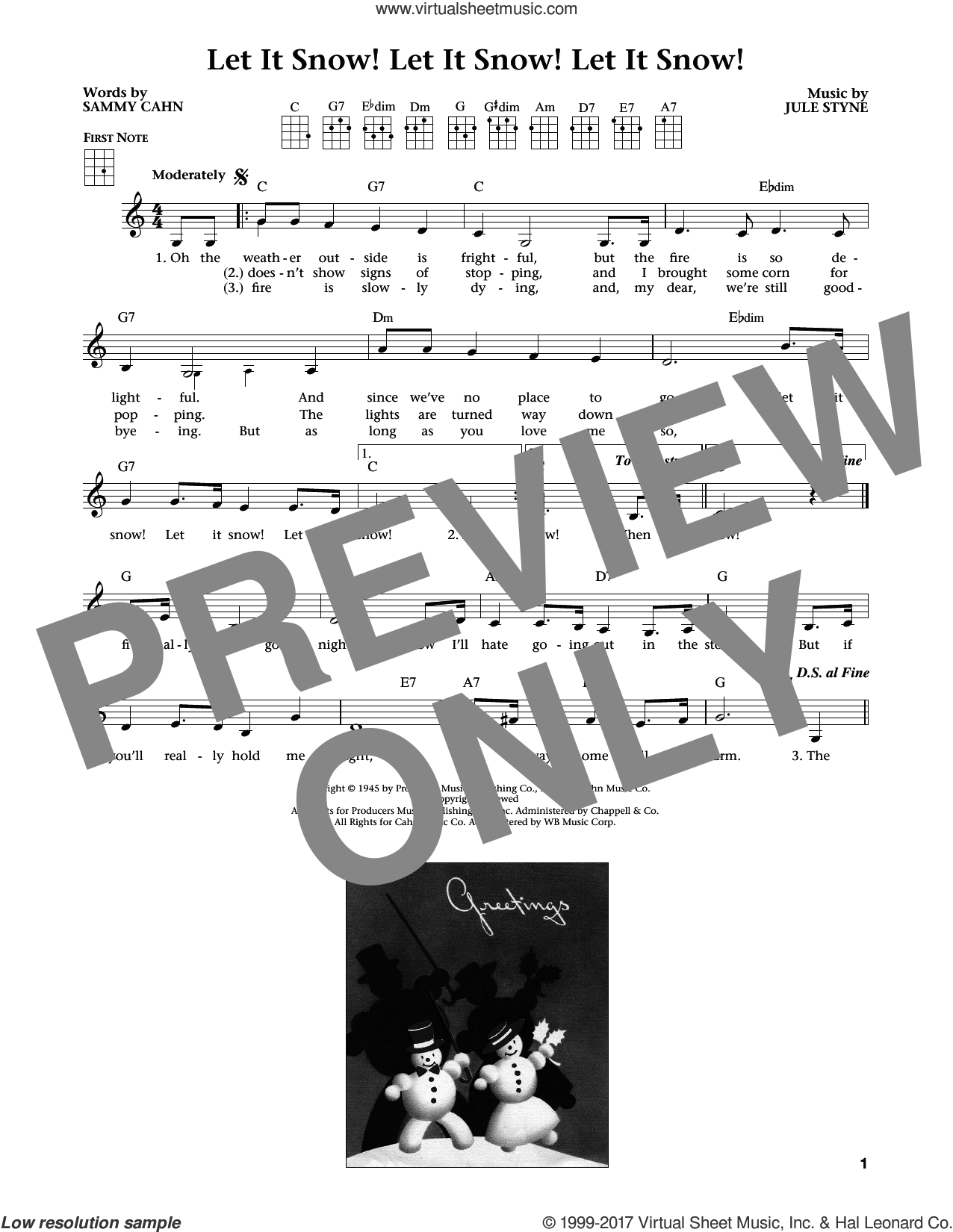 Let It Snow! Let It Snow! Let It Snow! (from The Daily Ukulele) (arr. Liz and Jim Beloff) sheet music for ukulele by Sammy Cahn and Jule Styne, intermediate skill level