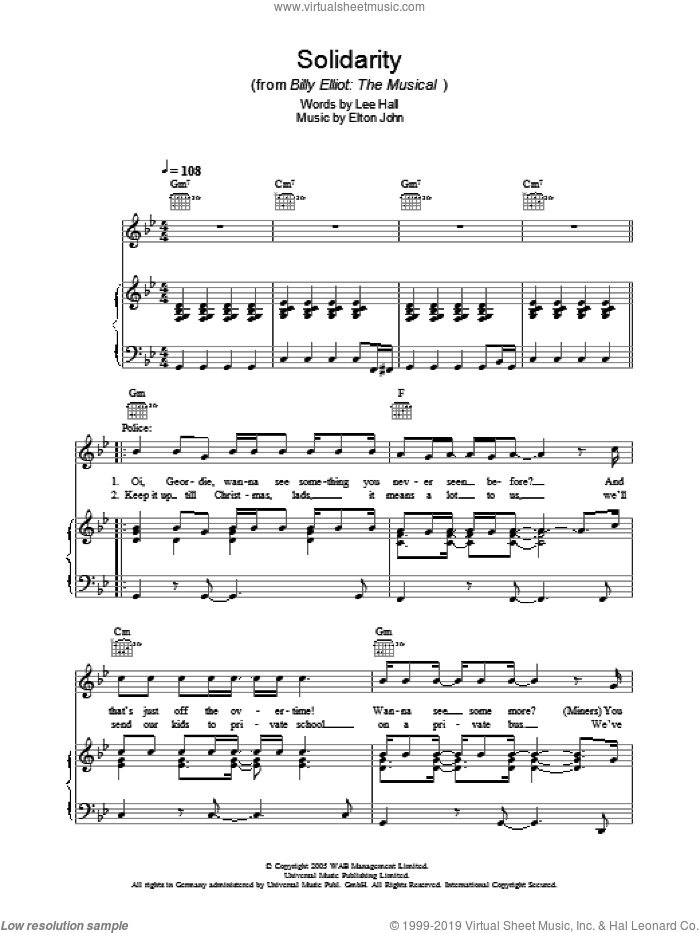 Solidarity sheet music for voice, piano or guitar by Lee Hall and Elton John. Score Image Preview.