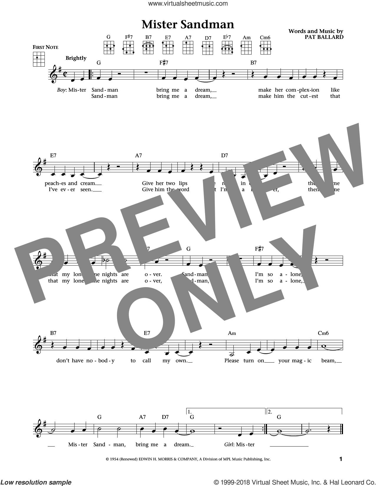 Mister Sandman (from The Daily Ukulele) (arr. Liz and Jim Beloff) sheet music for ukulele by The Chordettes, Jim Beloff, Liz Beloff and Pat Ballard, intermediate skill level