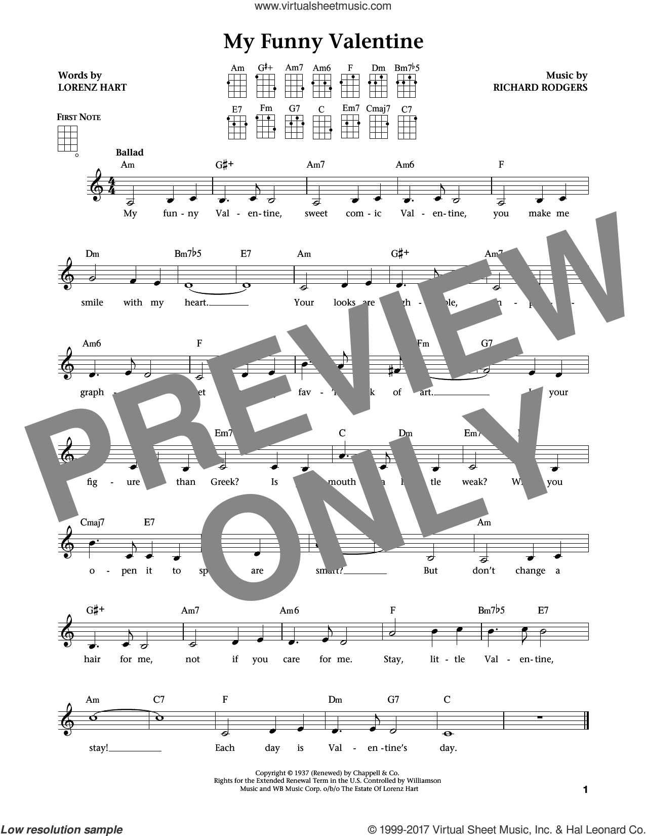 My Funny Valentine (from The Daily Ukulele) (arr. Liz and Jim Beloff) sheet music for ukulele by Rodgers & Hart, Jim Beloff, Liz Beloff, Lorenz Hart and Richard Rodgers, intermediate skill level