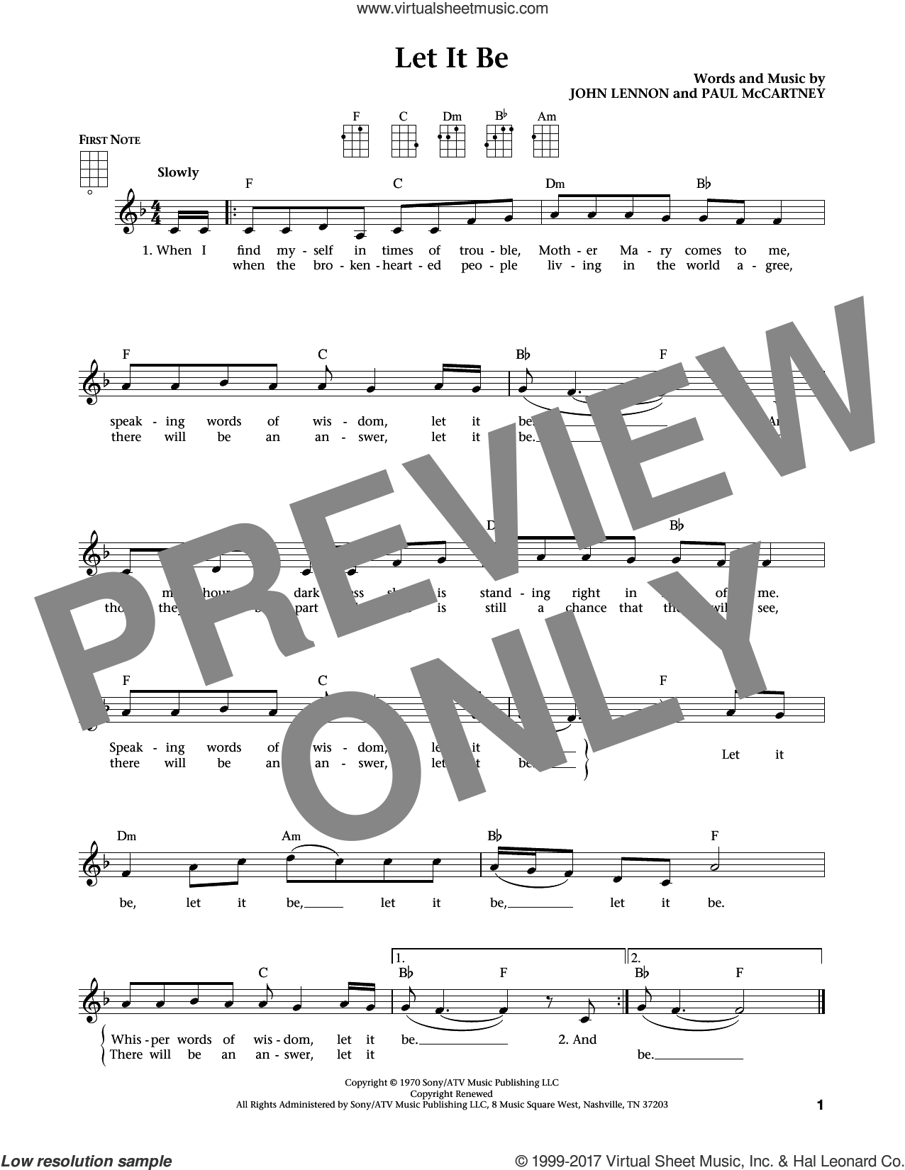 Let It Be (from The Daily Ukulele) (arr. Liz and Jim Beloff) sheet music for ukulele by The Beatles, Jim Beloff, Liz Beloff, John Lennon and Paul McCartney, intermediate skill level