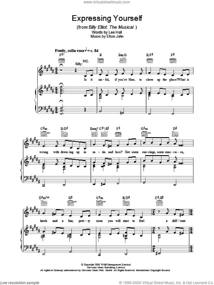 Expressing Yourself sheet music for voice, piano or guitar by Elton John, intermediate voice, piano or guitar. Score Image Preview.