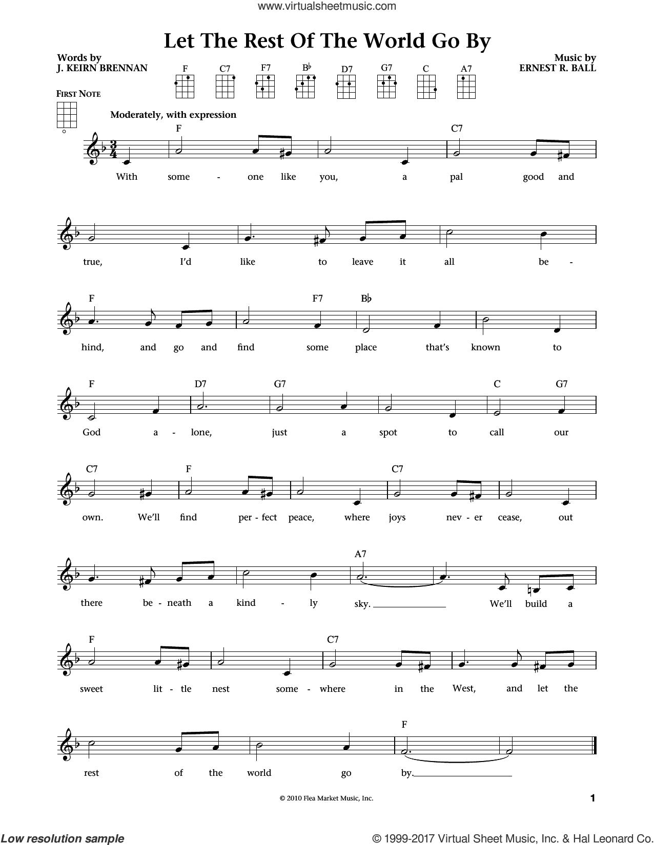 Let The Rest Of The World Go By (from The Daily Ukulele) (arr. Liz and Jim Beloff) sheet music for ukulele by Ernest R. Ball, Jim Beloff, Liz Beloff and J. Keirn Brennan, intermediate skill level