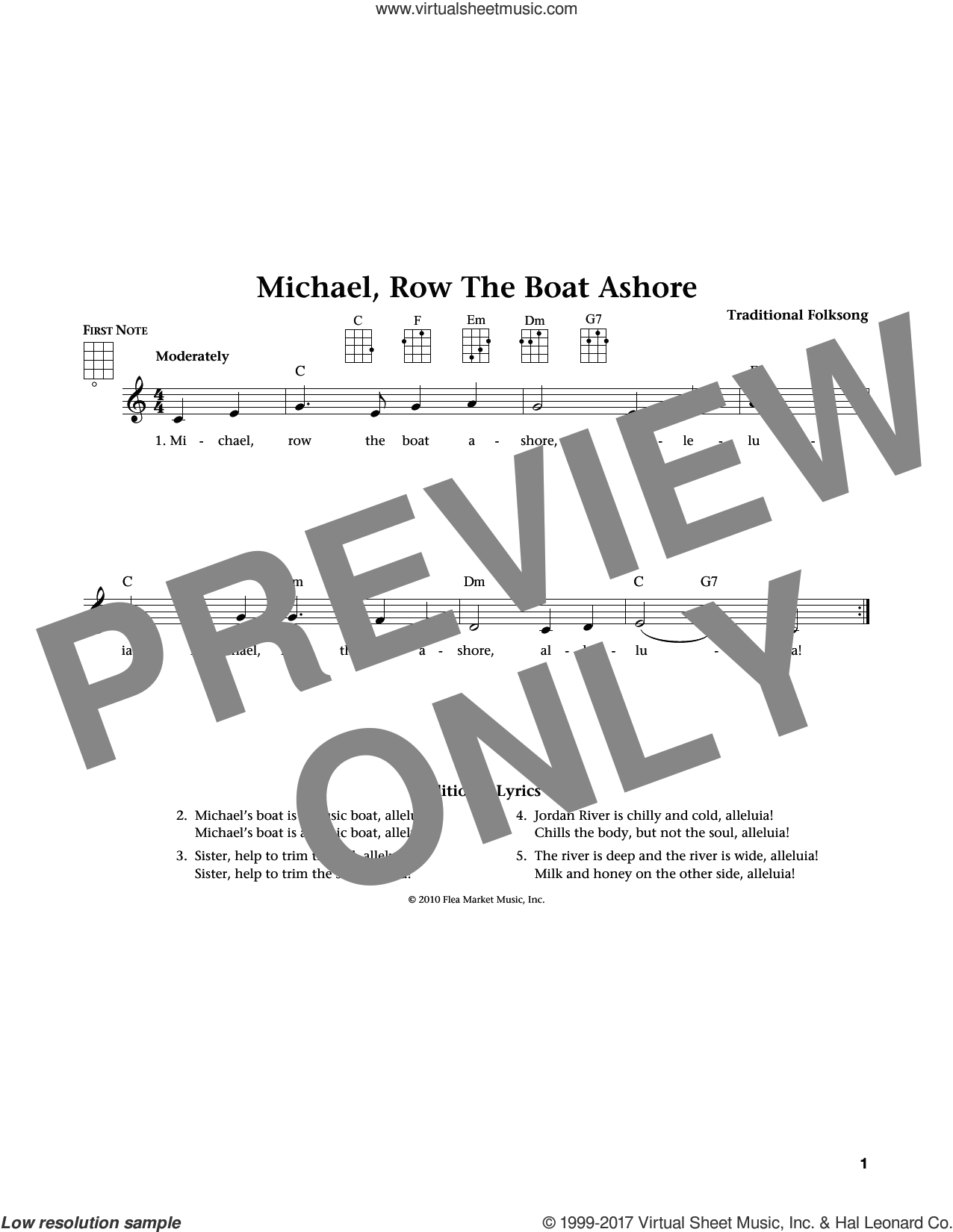 Michael Row The Boat Ashore sheet music for ukulele. Score Image Preview.
