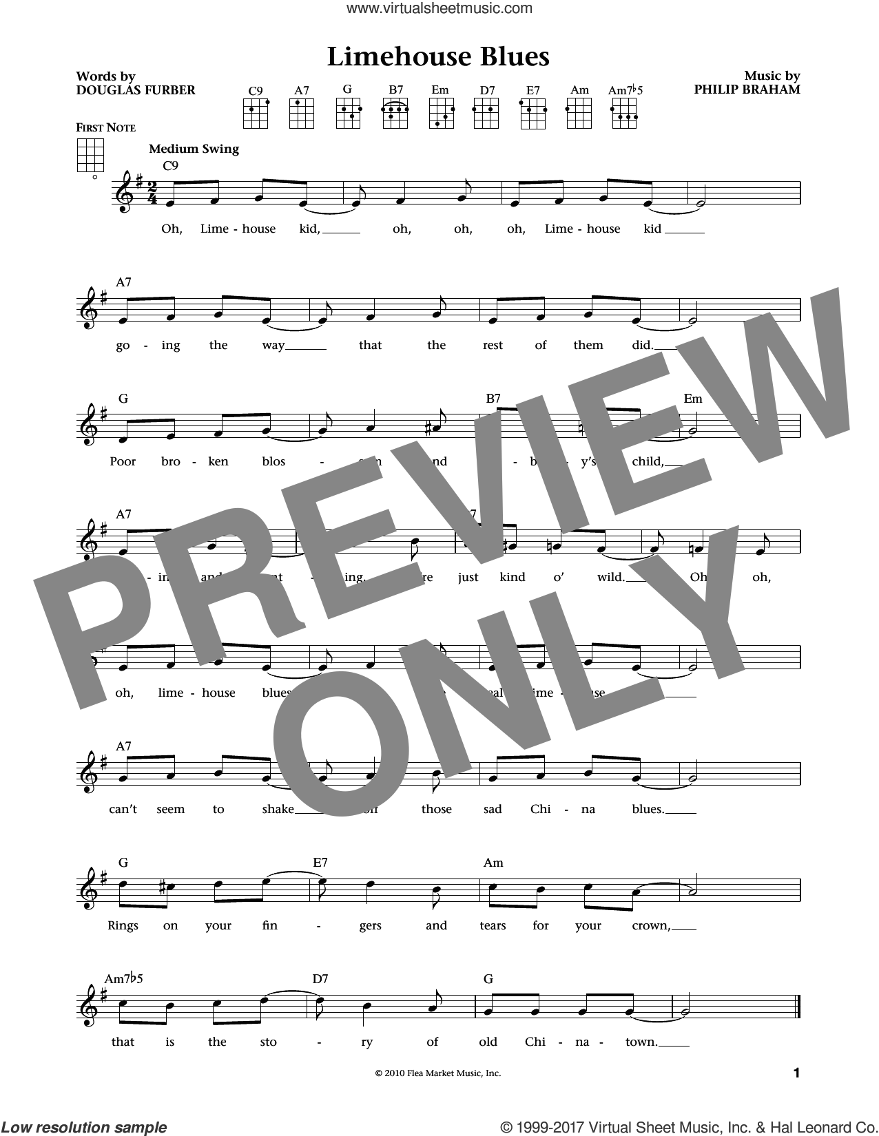 Limehouse Blues sheet music for ukulele by Douglas Furber and Philip Braham, intermediate. Score Image Preview.