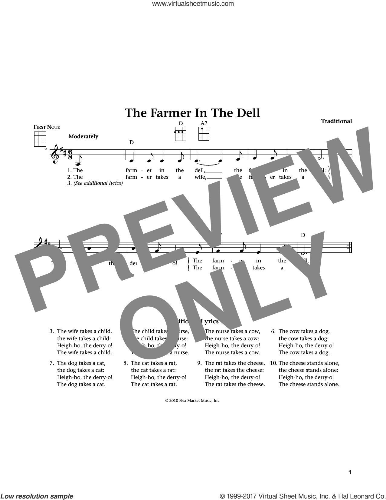 The Farmer In The Dell (from The Daily Ukulele) (arr. Liz and Jim Beloff) sheet music for ukulele , Jim Beloff and Liz Beloff, intermediate skill level