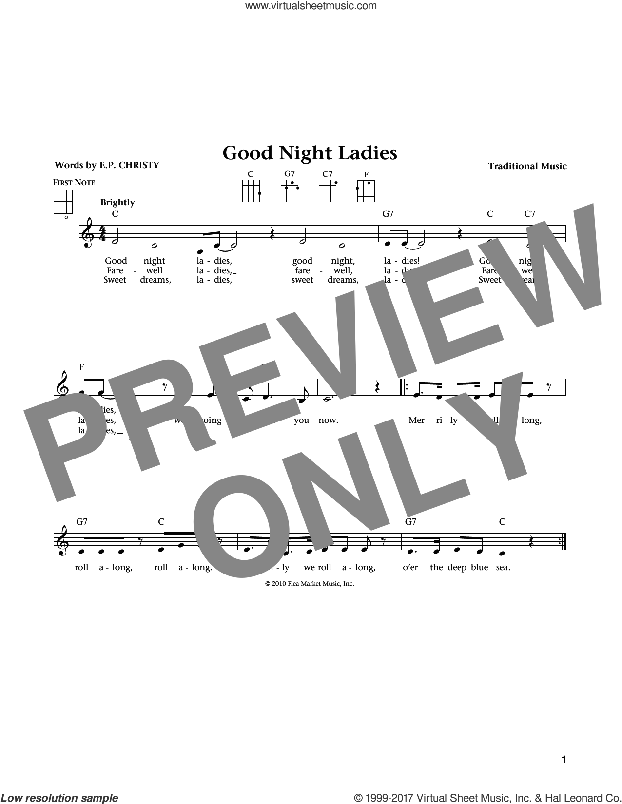 Good Night Ladies sheet music for ukulele by Traditional Music. Score Image Preview.