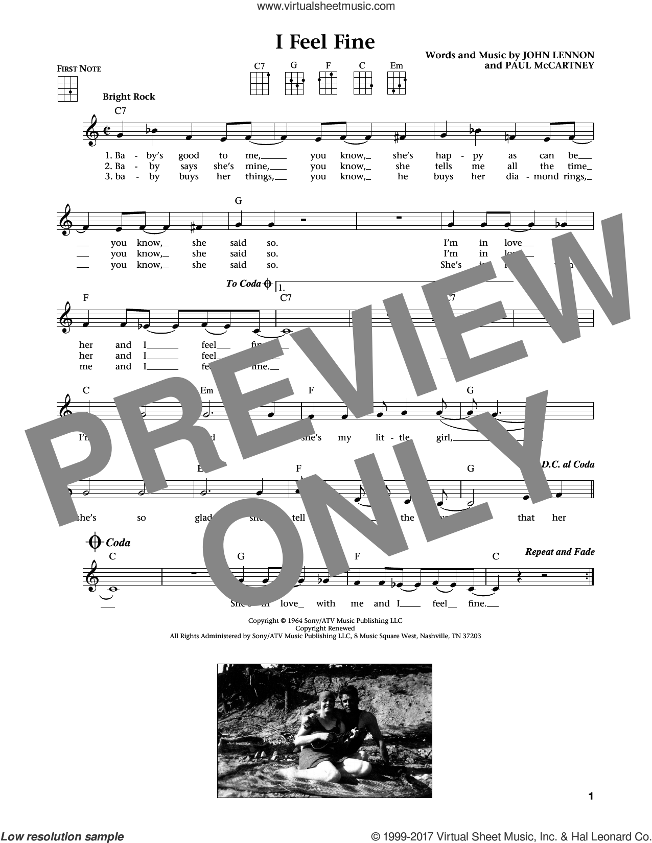 I Feel Fine (from The Daily Ukulele) (arr. Liz and Jim Beloff) sheet music for ukulele by The Beatles, Jim Beloff, Liz Beloff, John Lennon and Paul McCartney, intermediate skill level
