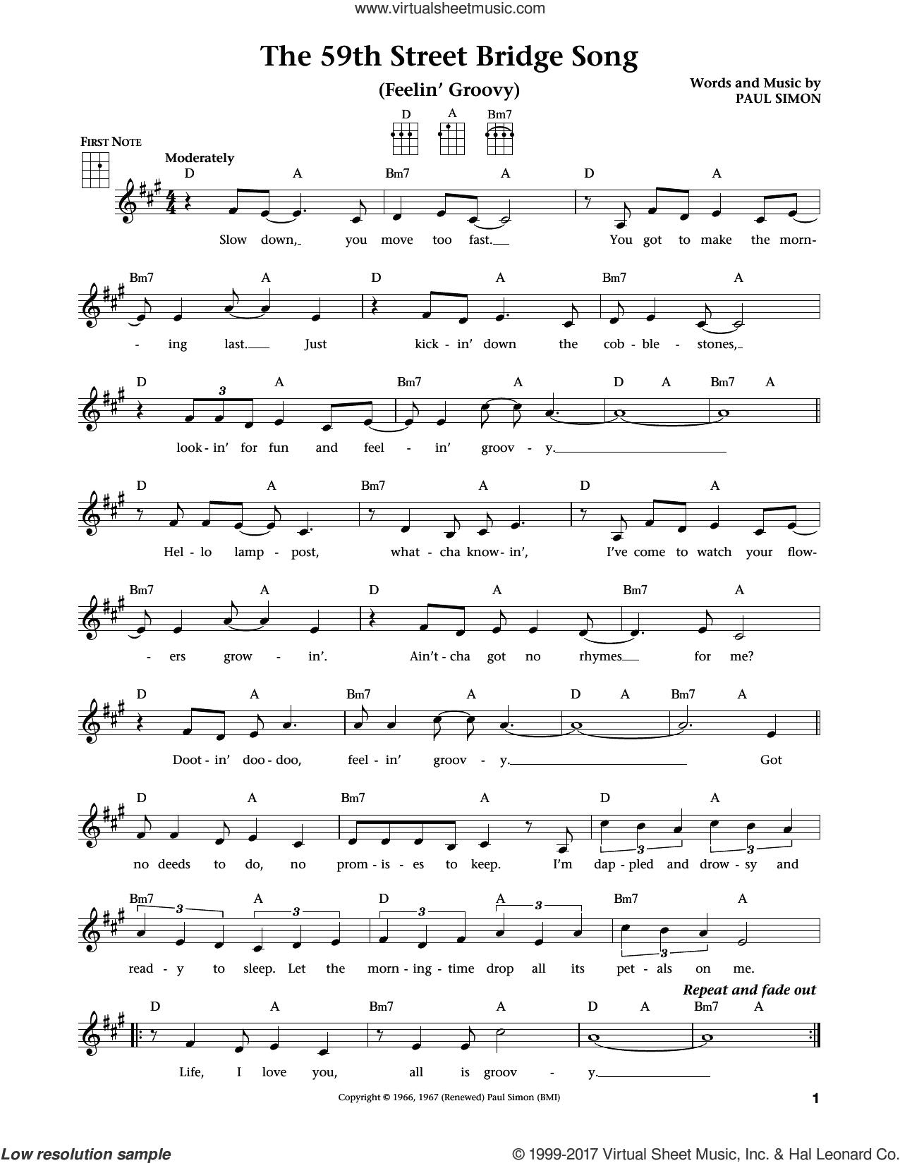 The 59th Street Bridge Song (Feelin' Groovy) (from The Daily Ukulele) (arr. Liz and Jim Beloff) sheet music for ukulele by Simon & Garfunkel, Jim Beloff, Liz Beloff and Paul Simon, intermediate skill level