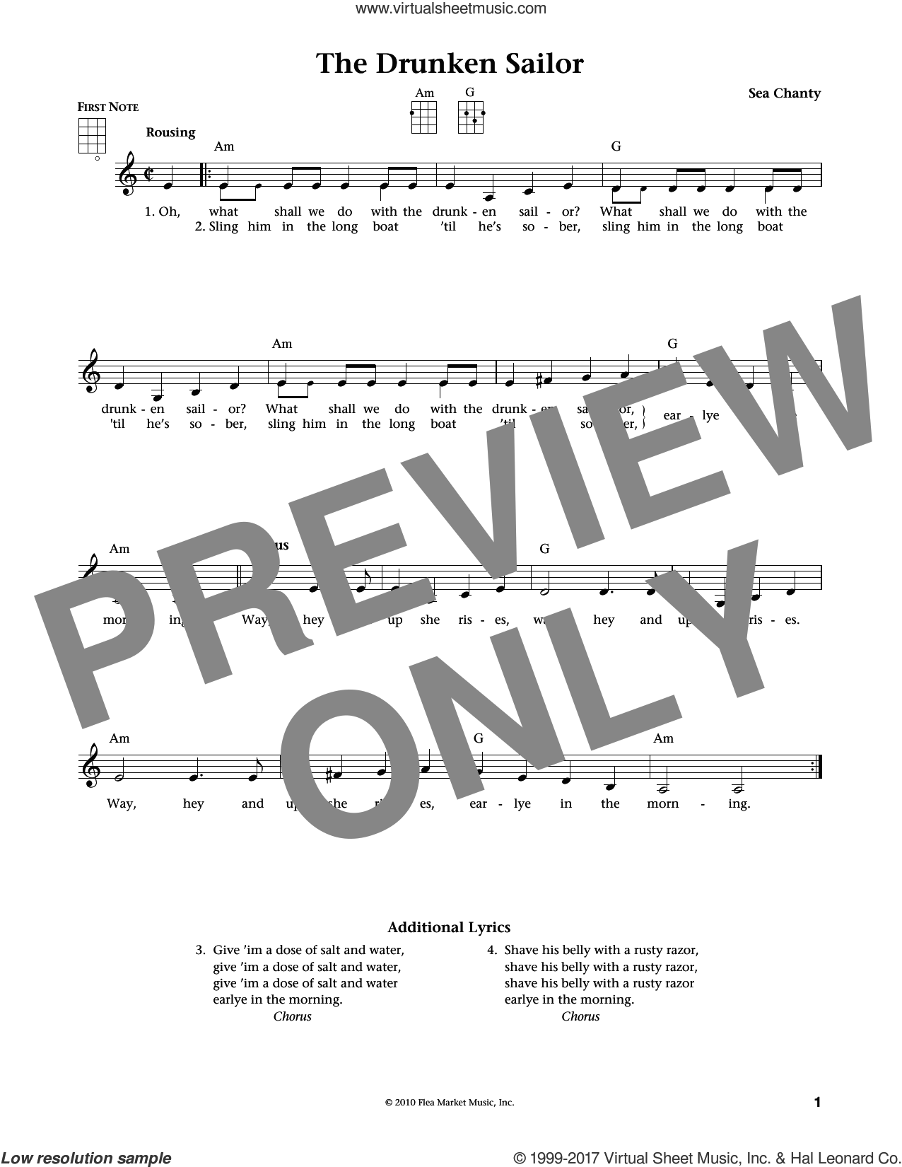 The Drunken Sailor (from The Daily Ukulele) (arr. Liz and Jim Beloff) sheet music for ukulele by American Sea Chantey, Jim Beloff and Liz Beloff, intermediate skill level