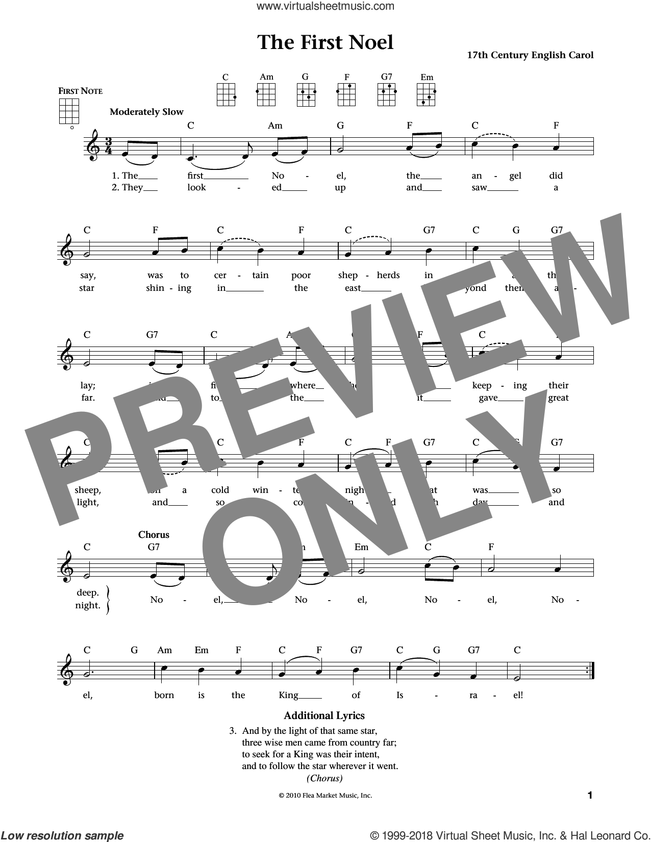 The First Noel sheet music for ukulele by Anonymous, Jim Beloff, Liz Beloff and Miscellaneous, intermediate skill level