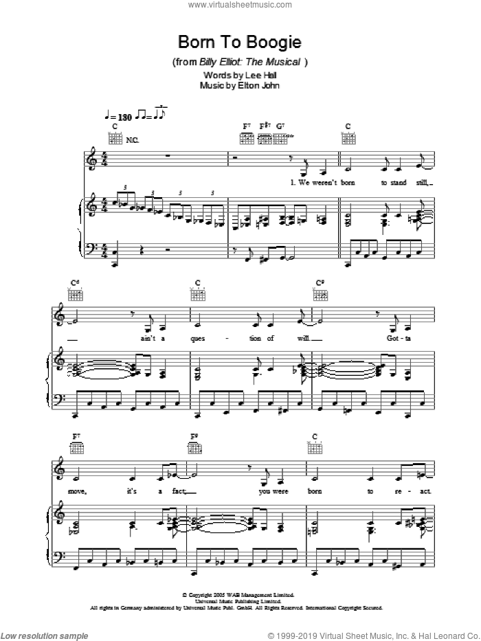 Born To Boogie sheet music for voice, piano or guitar by Elton John, Billy Elliot (Musical) and Lee Hall, intermediate skill level