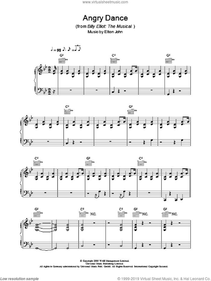 Angry Dance sheet music for voice, piano or guitar by Elton John, Billy Elliot (Musical) and Lee Hall, intermediate skill level