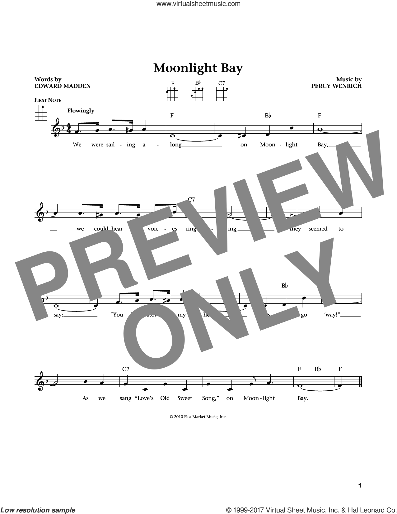 Moonlight Bay sheet music for ukulele by Edward Madden and Percy Wenrich. Score Image Preview.