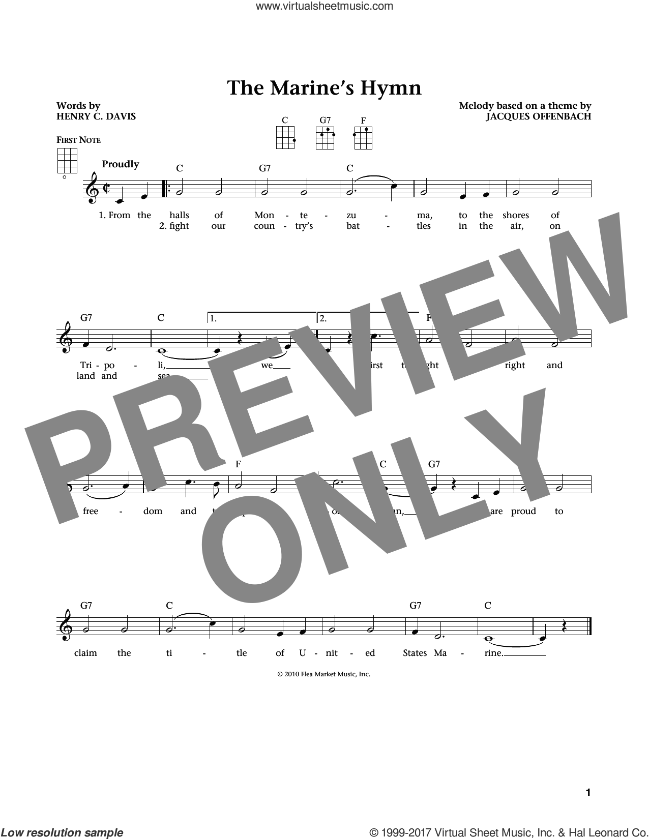 Marine's Hymn sheet music for ukulele by Jacques Offenbach, Jim Beloff, Liz Beloff and Henry C. Davis, intermediate