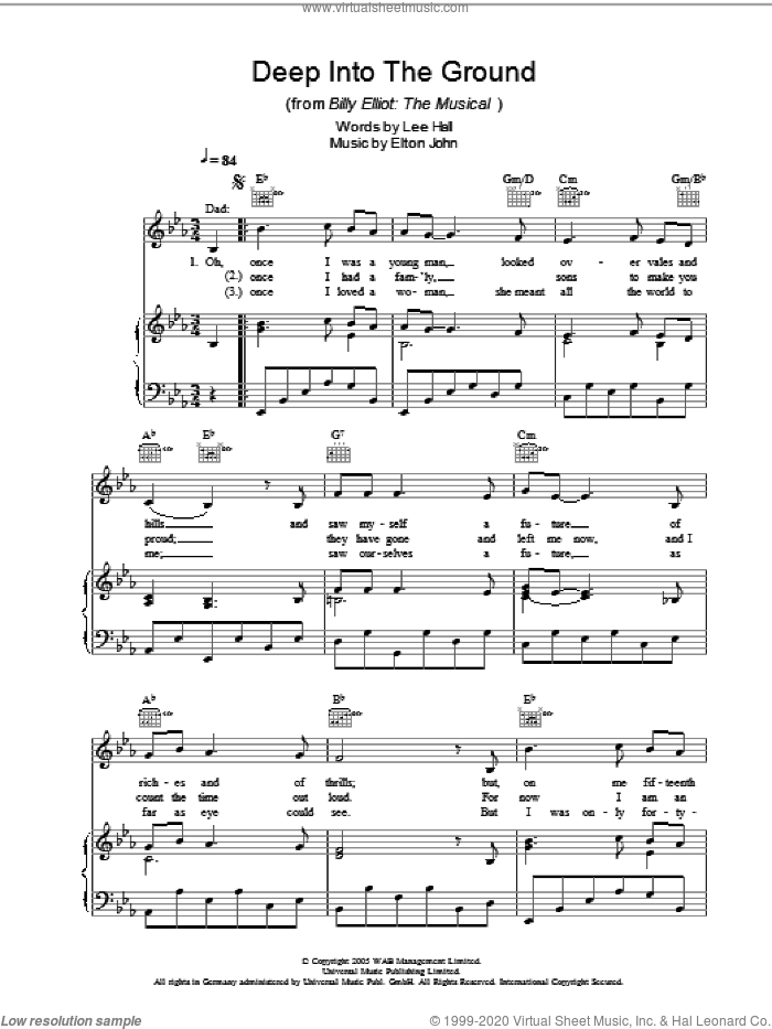 Deep Into The Ground sheet music for voice, piano or guitar by Lee Hall and Elton John. Score Image Preview.