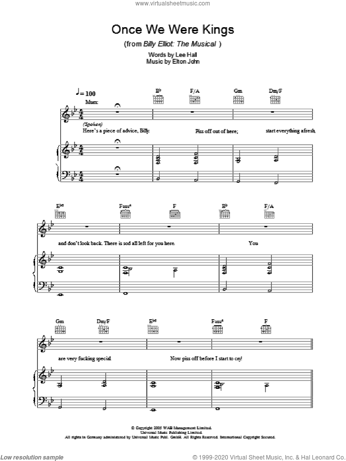 Once We Were Kings sheet music for voice, piano or guitar by Elton John. Score Image Preview.