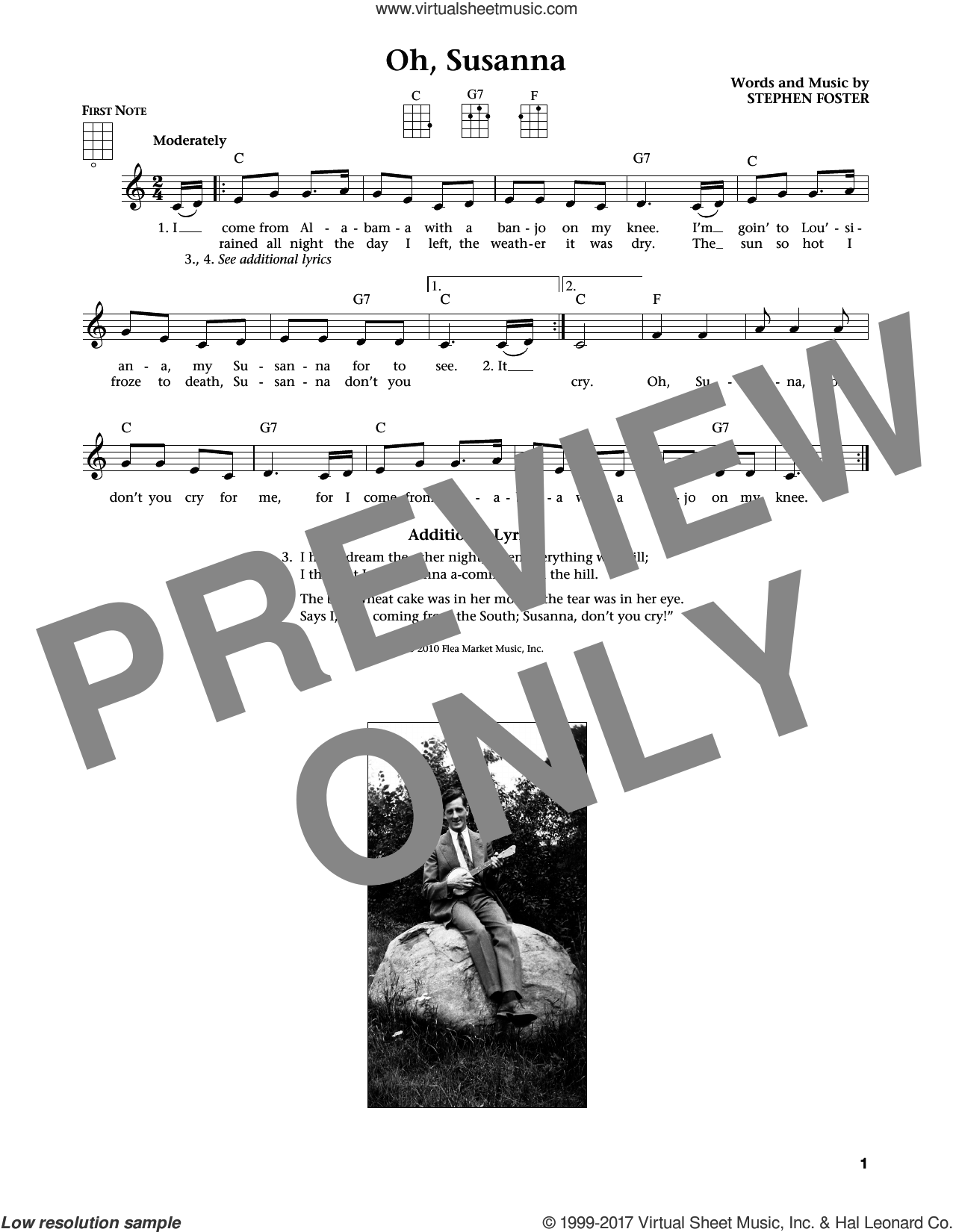 Oh! Susanna sheet music for ukulele by Stephen Foster. Score Image Preview.