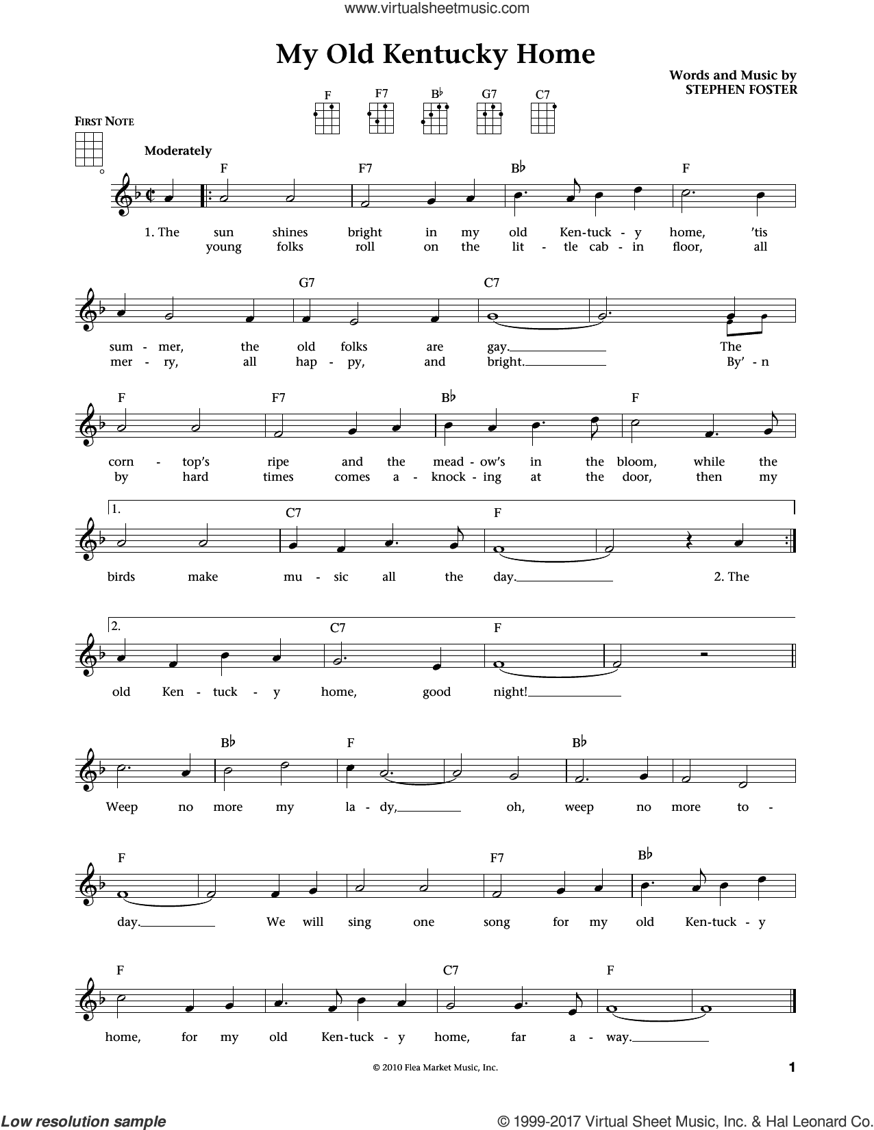 My Old Kentucky Home sheet music for ukulele by Stephen Foster. Score Image Preview.