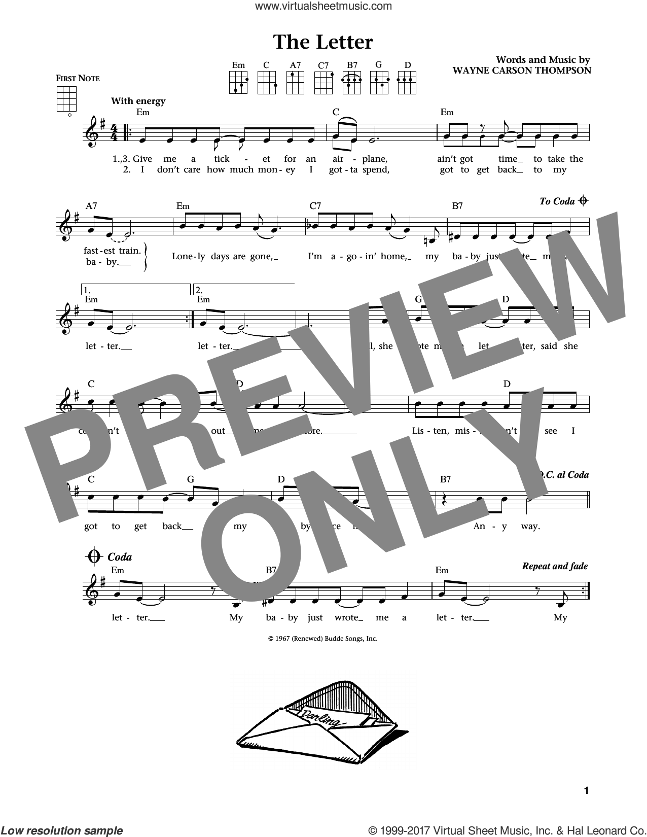 The Letter (from The Daily Ukulele) (arr. Liz and Jim Beloff) sheet music for ukulele by Box Tops, Jim Beloff, Liz Beloff and Wayne Carson Thompson, intermediate skill level