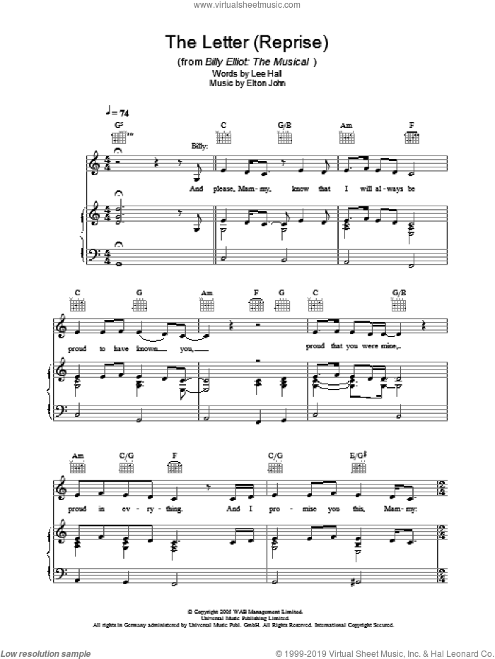 The Letter - Reprise sheet music for voice, piano or guitar by Elton John, Billy Elliot (Musical) and Lee Hall, intermediate skill level