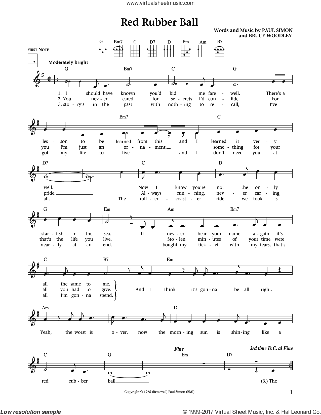 Red Rubber Ball sheet music for ukulele by Paul Simon and Simon & Garfunkel. Score Image Preview.