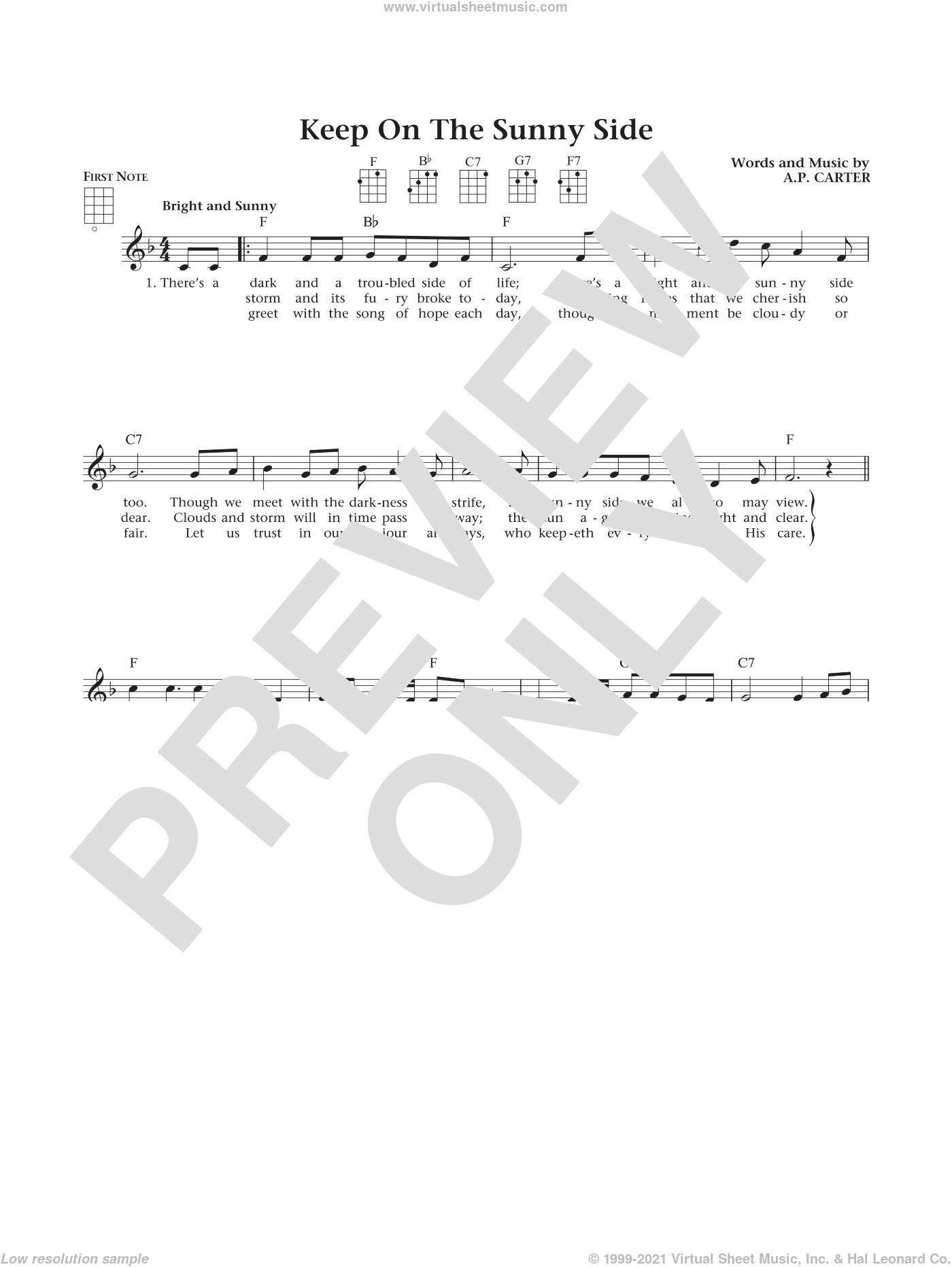 Keep On The Sunny Side (from The Daily Ukulele) (arr. Liz and Jim Beloff) sheet music for ukulele by The Carter Family, Jim Beloff, Liz Beloff and A.P. Carter, intermediate skill level
