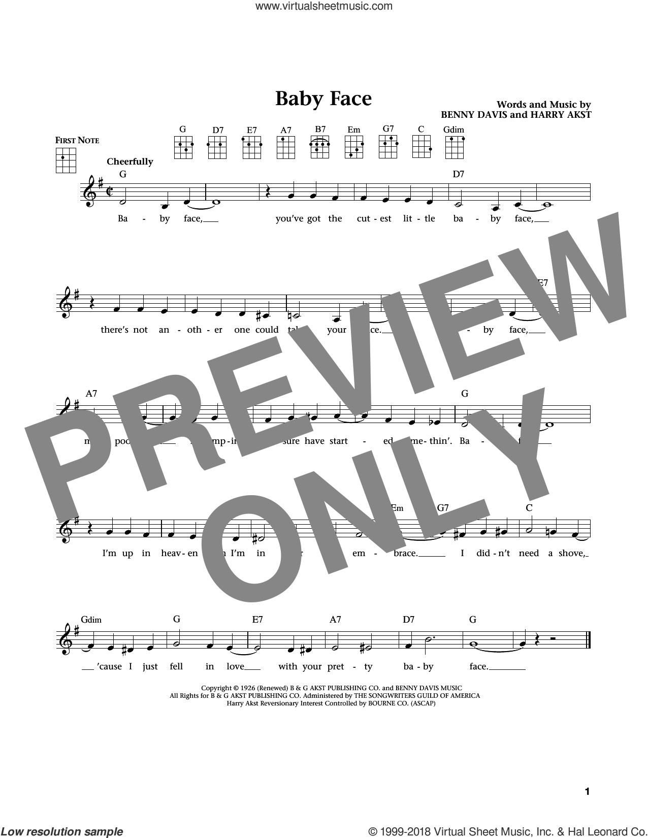 Baby Face (from The Daily Ukulele) (arr. Liz and Jim Beloff) sheet music for ukulele by Little Richard, Jim Beloff, Liz Beloff, Bobby Darin, Benny Davis and Harry Akst, intermediate skill level