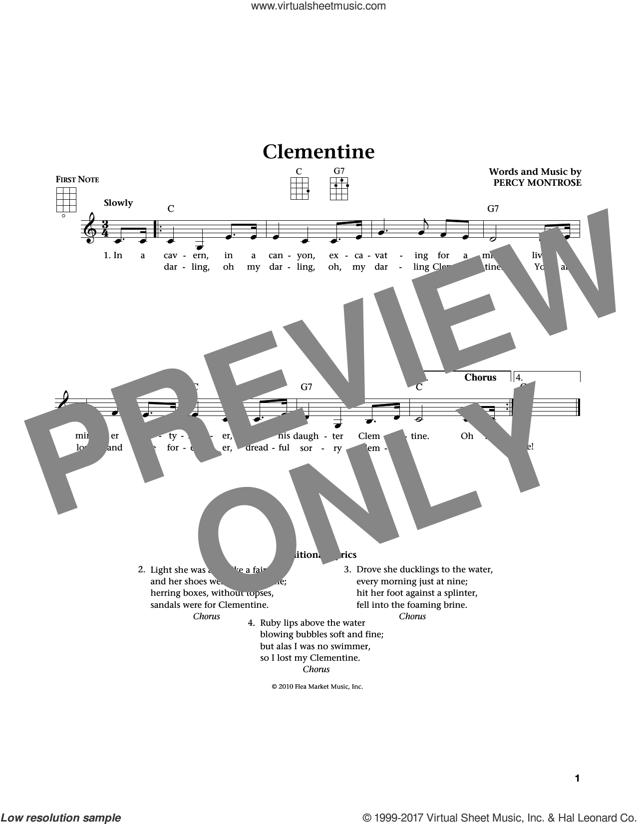 (Oh, My Darling) Clementine sheet music for ukulele by Percy Montrose, Jim Beloff and Liz Beloff, intermediate skill level