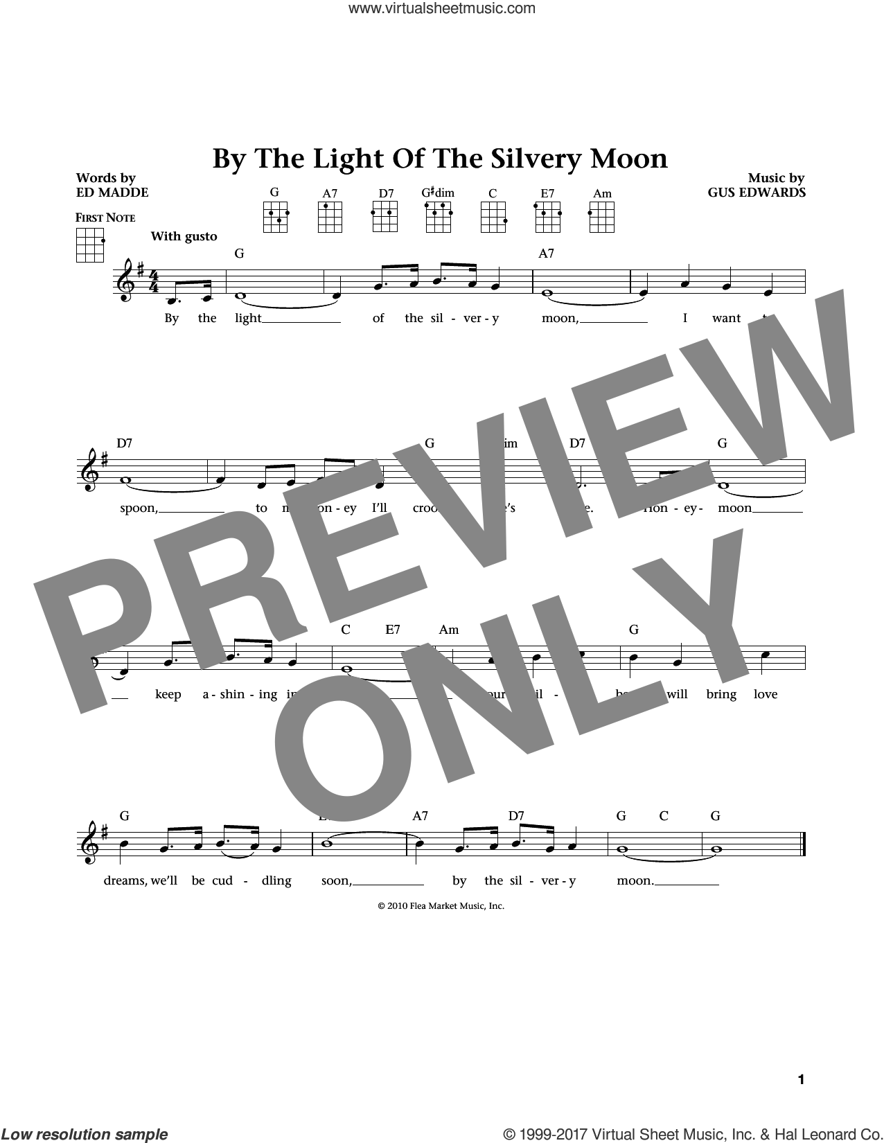 By The Light Of The Silvery Moon (from The Daily Ukulele) (arr. Liz and Jim Beloff) sheet music for ukulele by Jimmy Bowen, Jim Beloff, Liz Beloff, Ed Madden and Gus Edwards, intermediate skill level