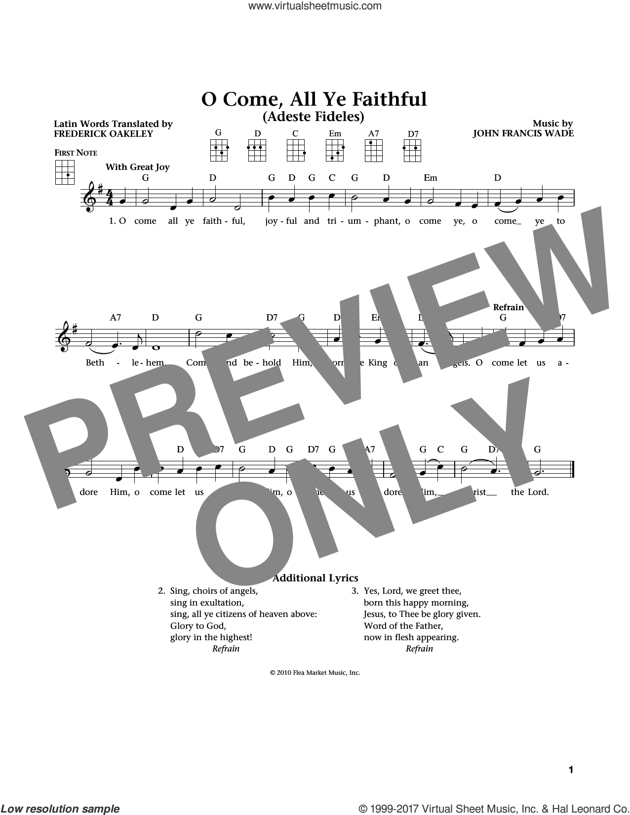 O Come, All Ye Faithful (from The Daily Ukulele) (arr. Liz and Jim Beloff) sheet music for ukulele by John Francis Wade, Jim Beloff, Liz Beloff and Frederick Oakeley (English), intermediate skill level