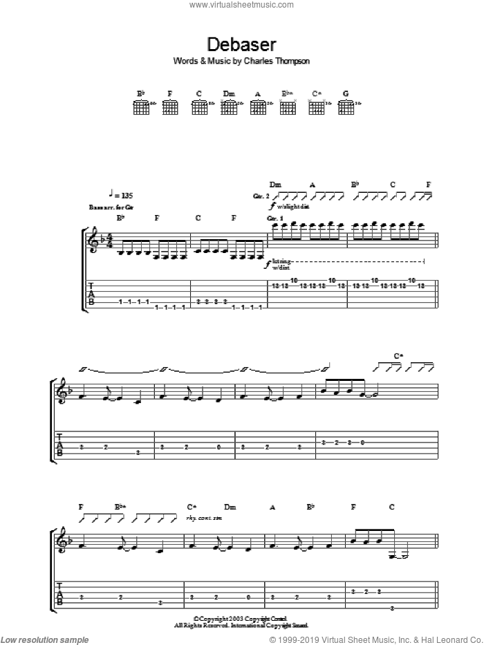 Debaser sheet music for guitar (tablature) by Charles Thompson