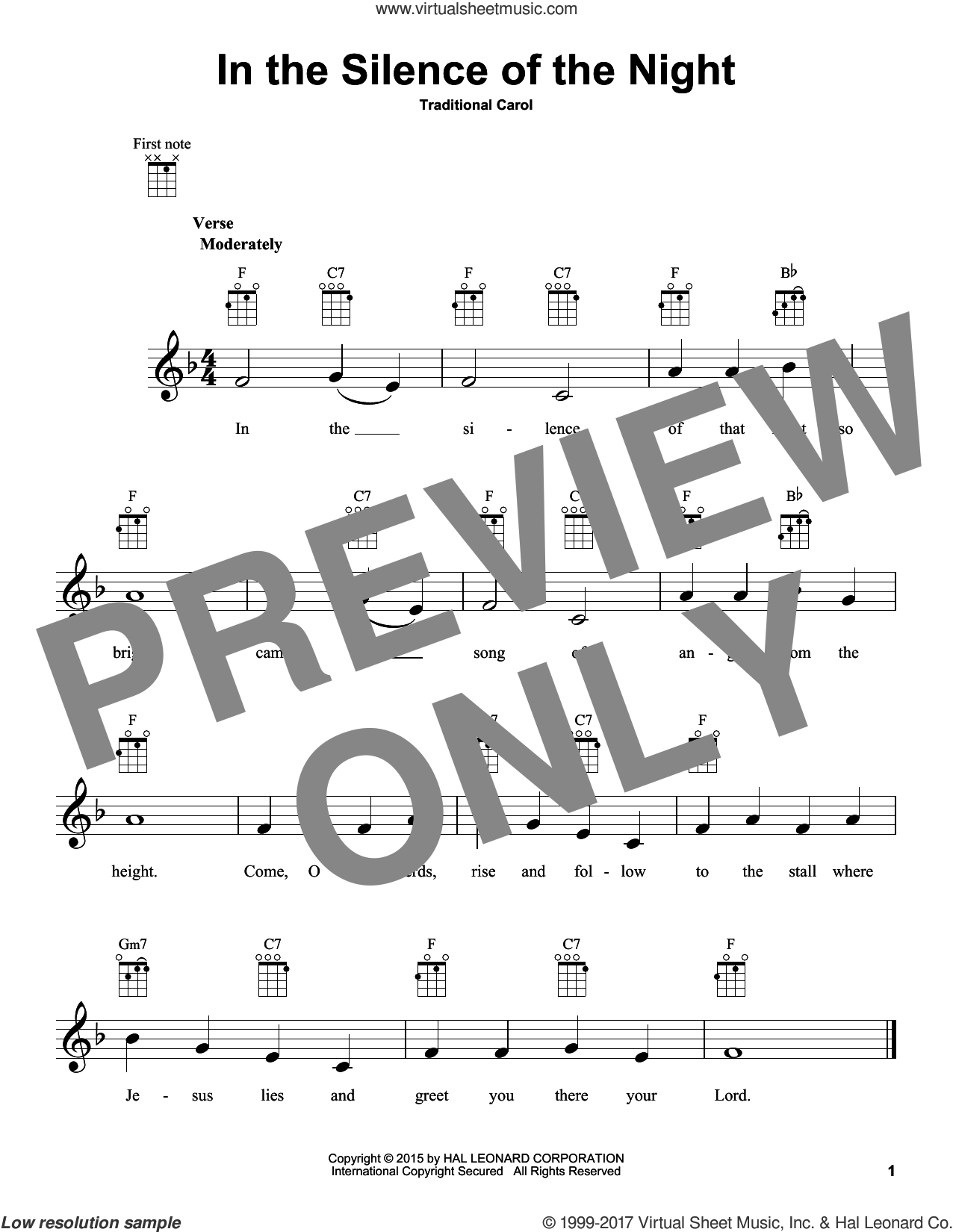 In The Silence Of The Night sheet music for ukulele, intermediate skill level