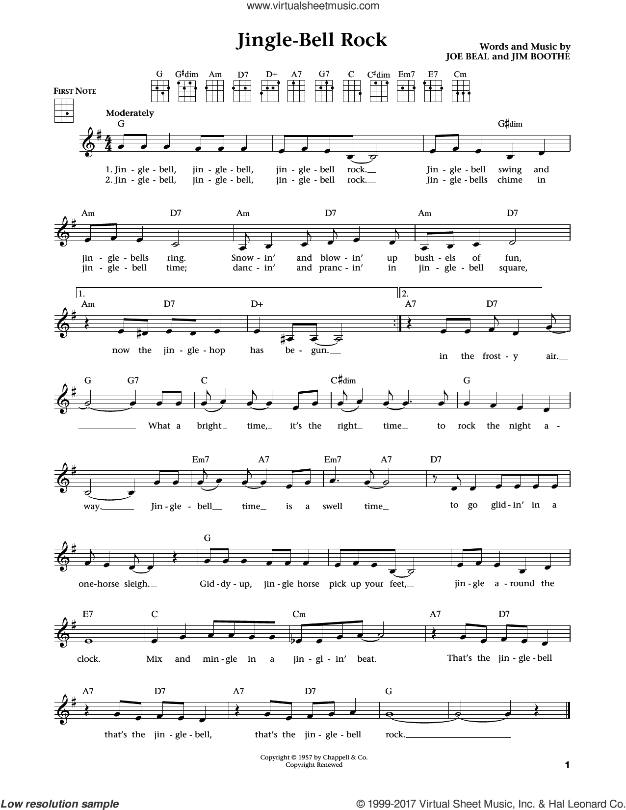 Jingle Bell Rock sheet music for ukulele by Joe Beal and Jim Boothe, intermediate skill level