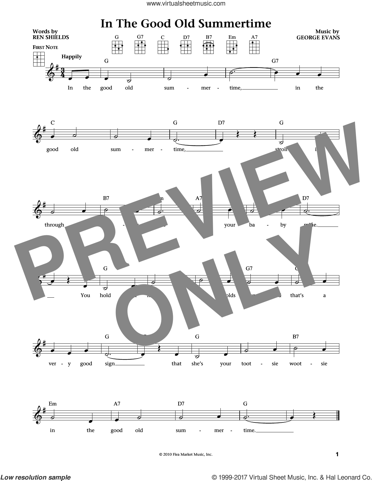 In The Good Old Summertime sheet music for ukulele by Ren Shields, Jim Beloff, Liz Beloff and George Evans, intermediate skill level