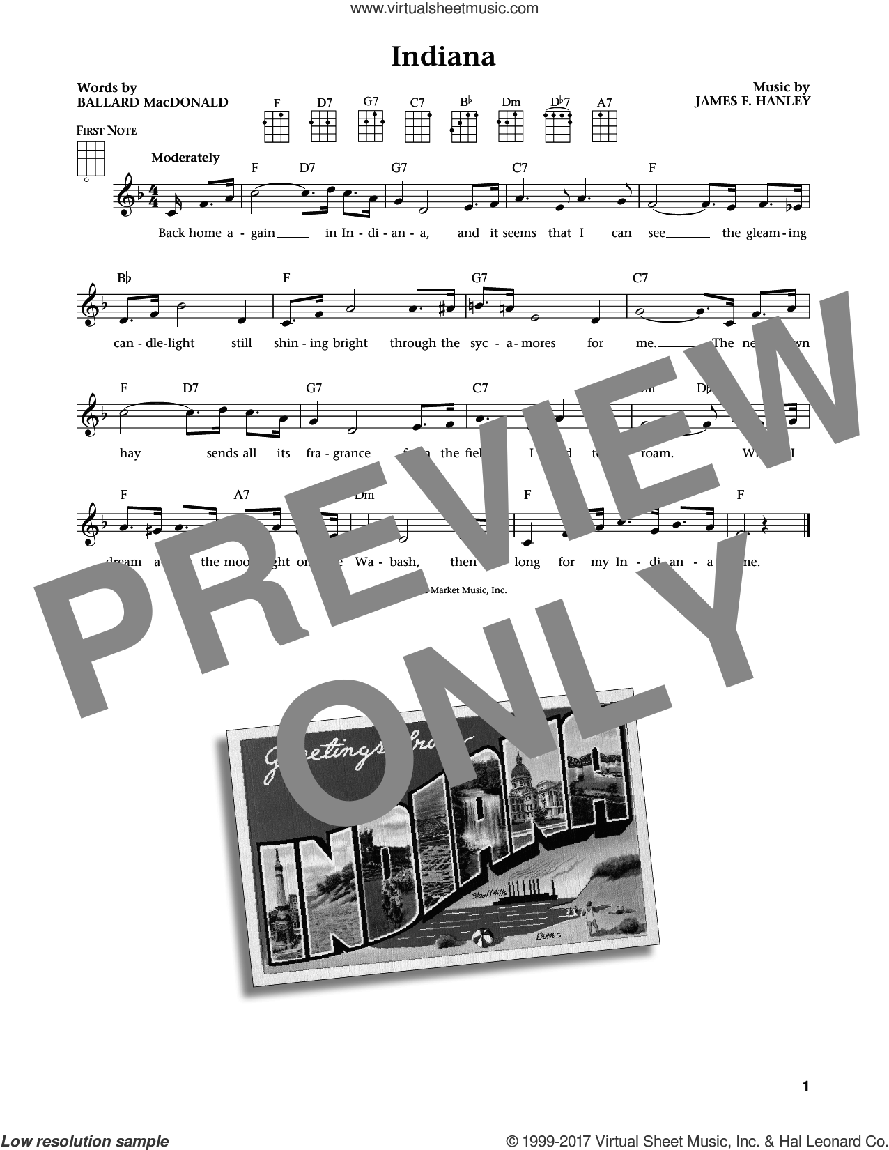 Indiana (Back Home Again In Indiana) (from The Daily Ukulele) (arr. Liz and Jim Beloff) sheet music for ukulele by Ballard MacDonald, Jim Beloff, Liz Beloff and James Hanley, intermediate skill level