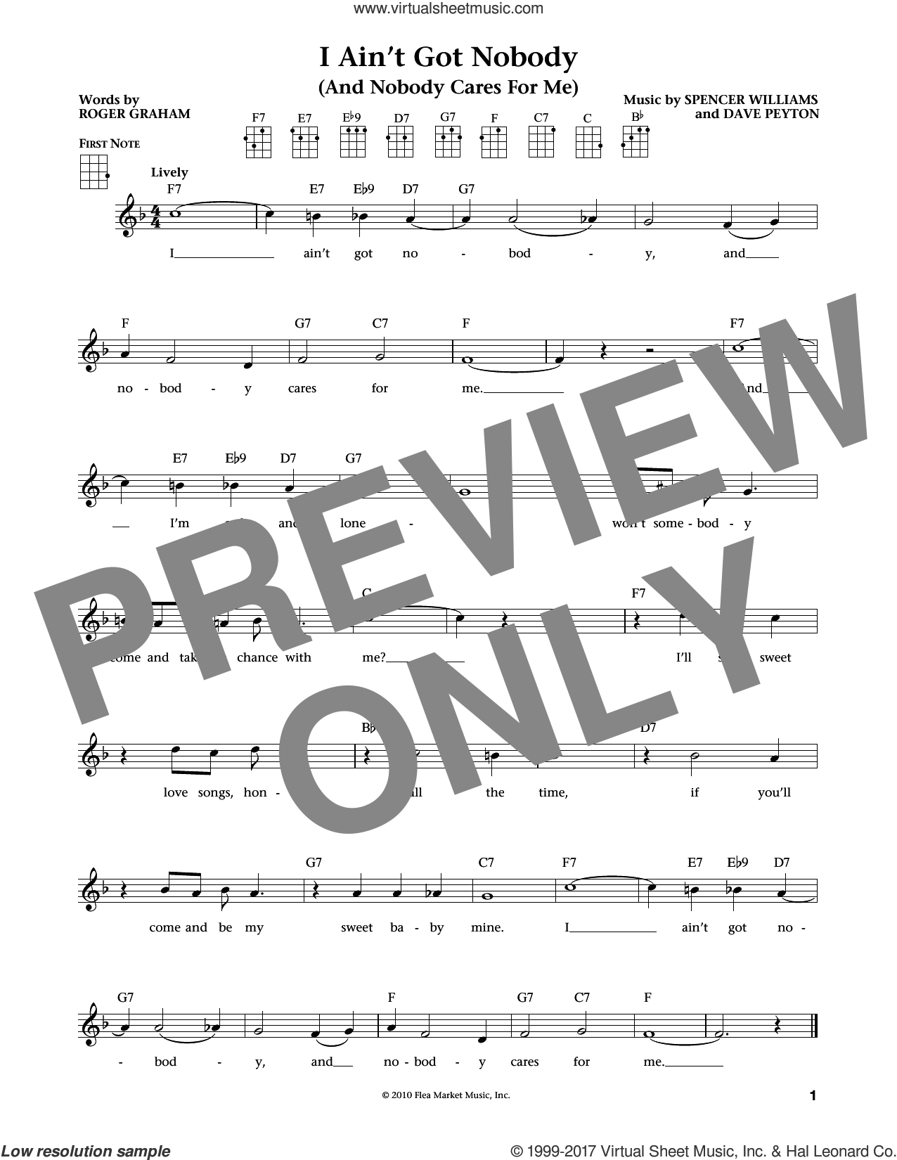 I Ain't Got Nobody (And Nobody Cares For Me) sheet music for ukulele by Bessie Smith, intermediate ukulele. Score Image Preview.