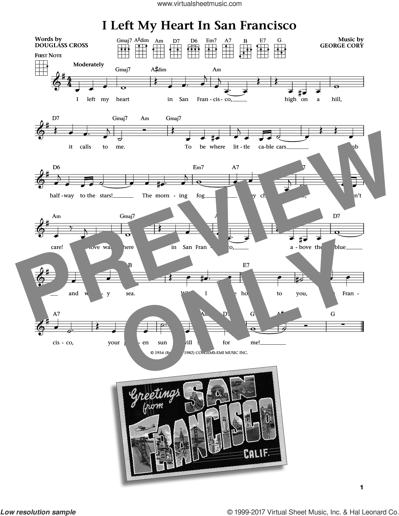 I Left My Heart In San Francisco sheet music for ukulele by George Cory, Jim Beloff, Liz Beloff, Tony Bennett and Douglass Cross, intermediate skill level