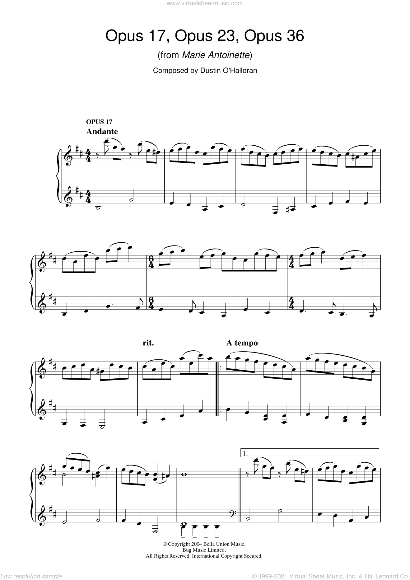 Opus 17, Opus 23, Opus 36 (from Marie Antoinette) sheet music for piano solo by Dustin O'Halloran, intermediate skill level