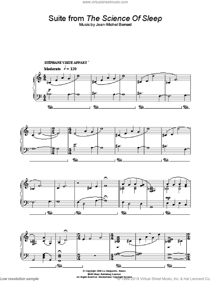 Suite (from The Science Of Sleep) sheet music for piano solo by Jean-Michel Bernard. Score Image Preview.