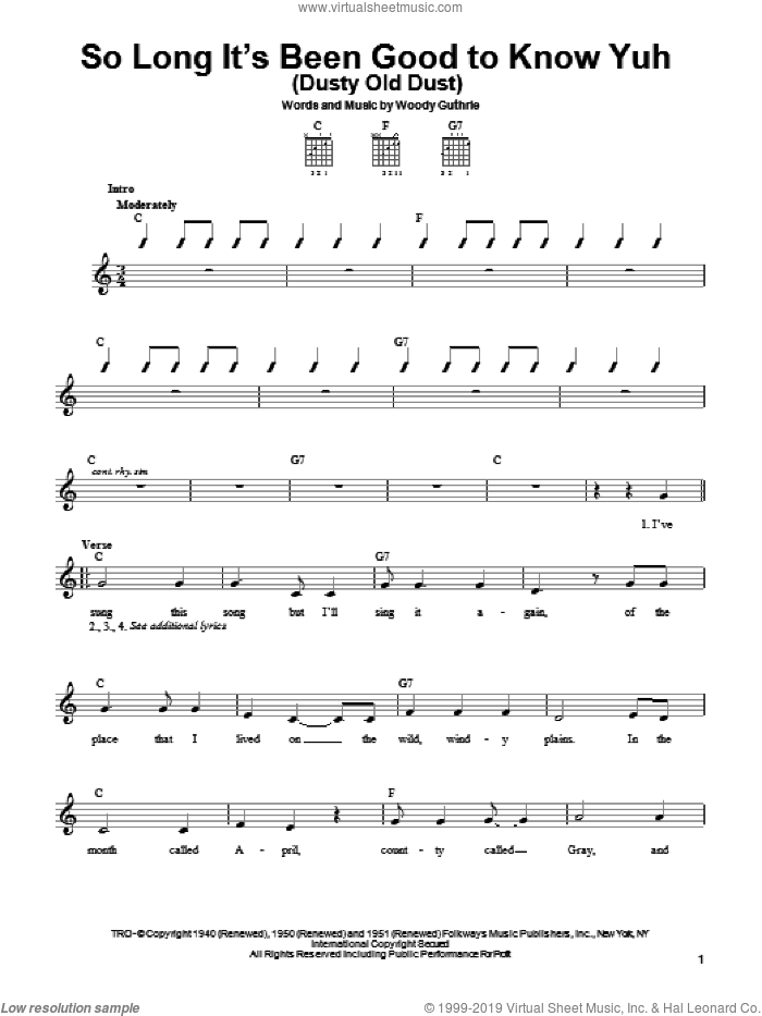 So Long It's Been Good To Know Yuh (Dusty Old Dust) sheet music for guitar solo (chords) by Woody Guthrie. Score Image Preview.