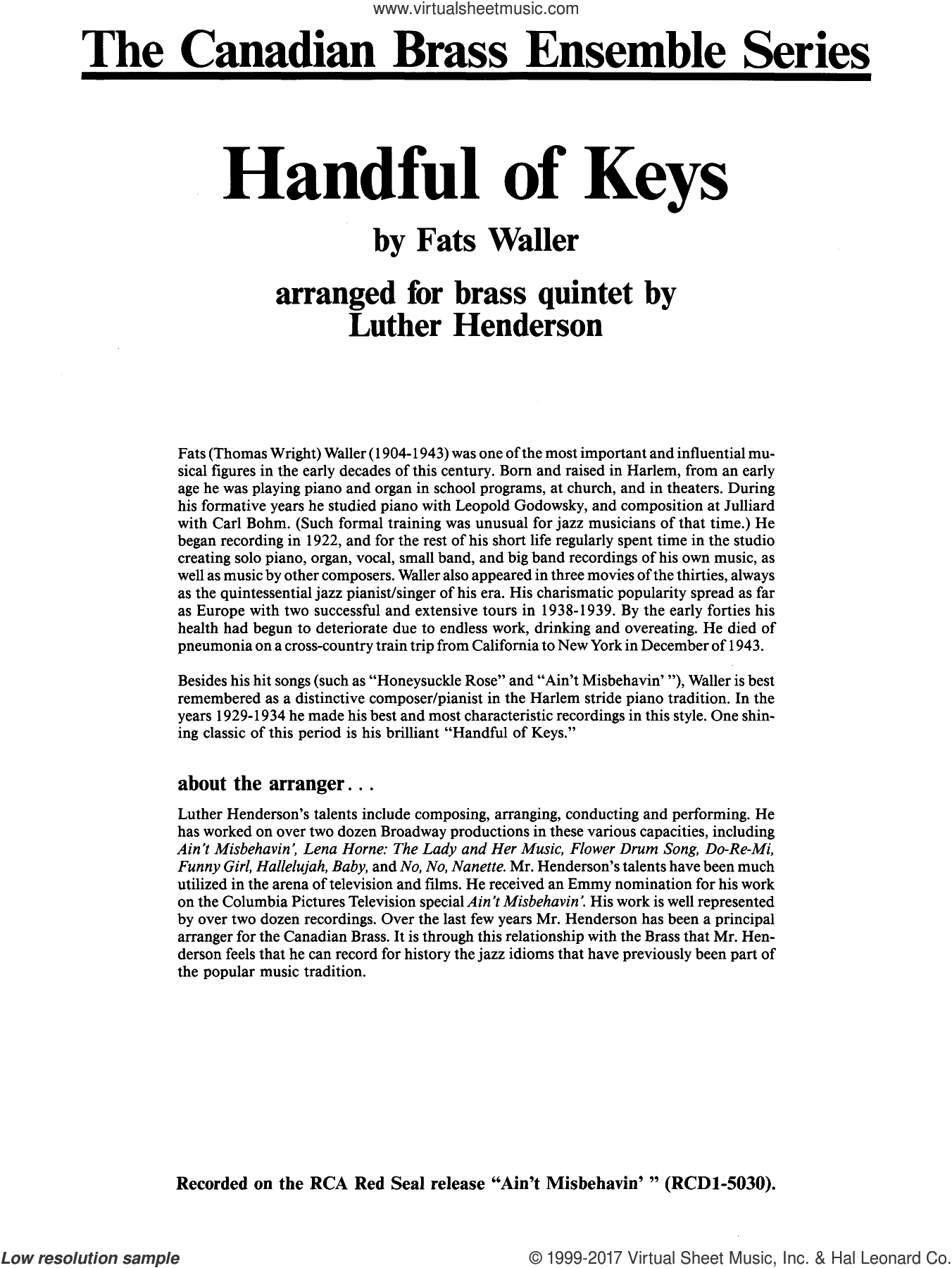 Handful of Keys (COMPLETE) sheet music for brass quintet by Fats Waller, Luther Henderson and Thomas Waller, intermediate skill level