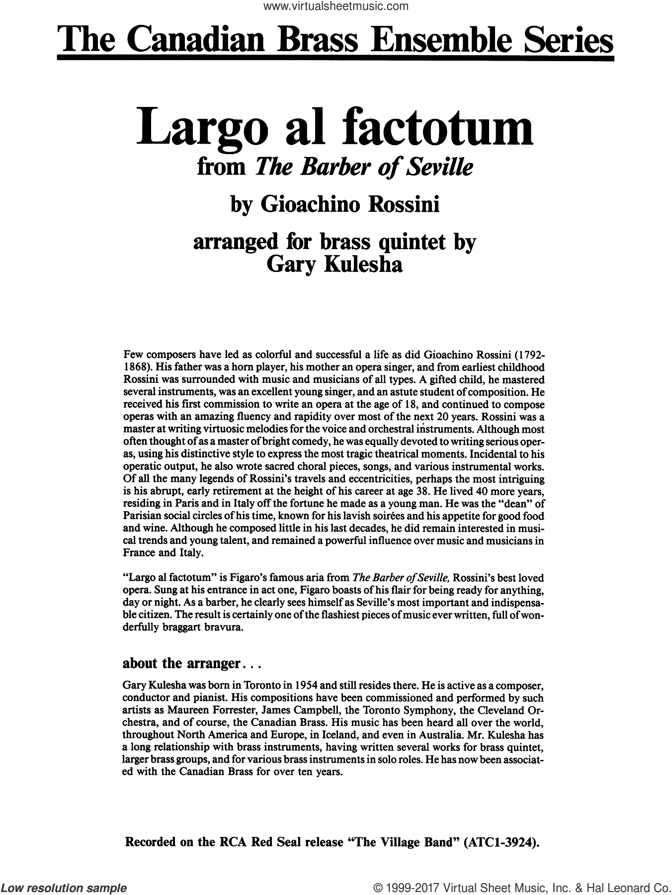 Largo al factotum from The Barber of Seville (COMPLETE) sheet music for brass quintet by Gioacchino Rossini and Gary Kulesha, classical score, intermediate skill level