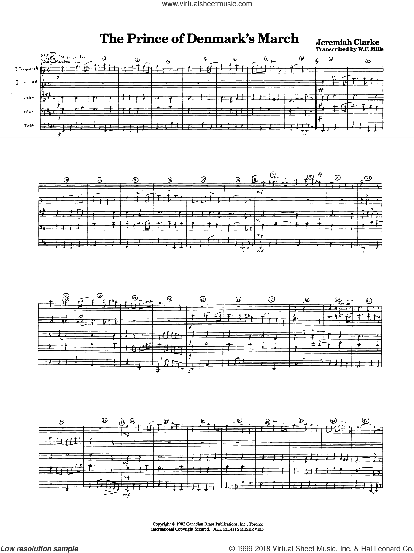 The Prince of Denmark's March (COMPLETE) sheet music for brass quintet by Jeremiah Clarke and W.F. Mills, classical score, intermediate skill level