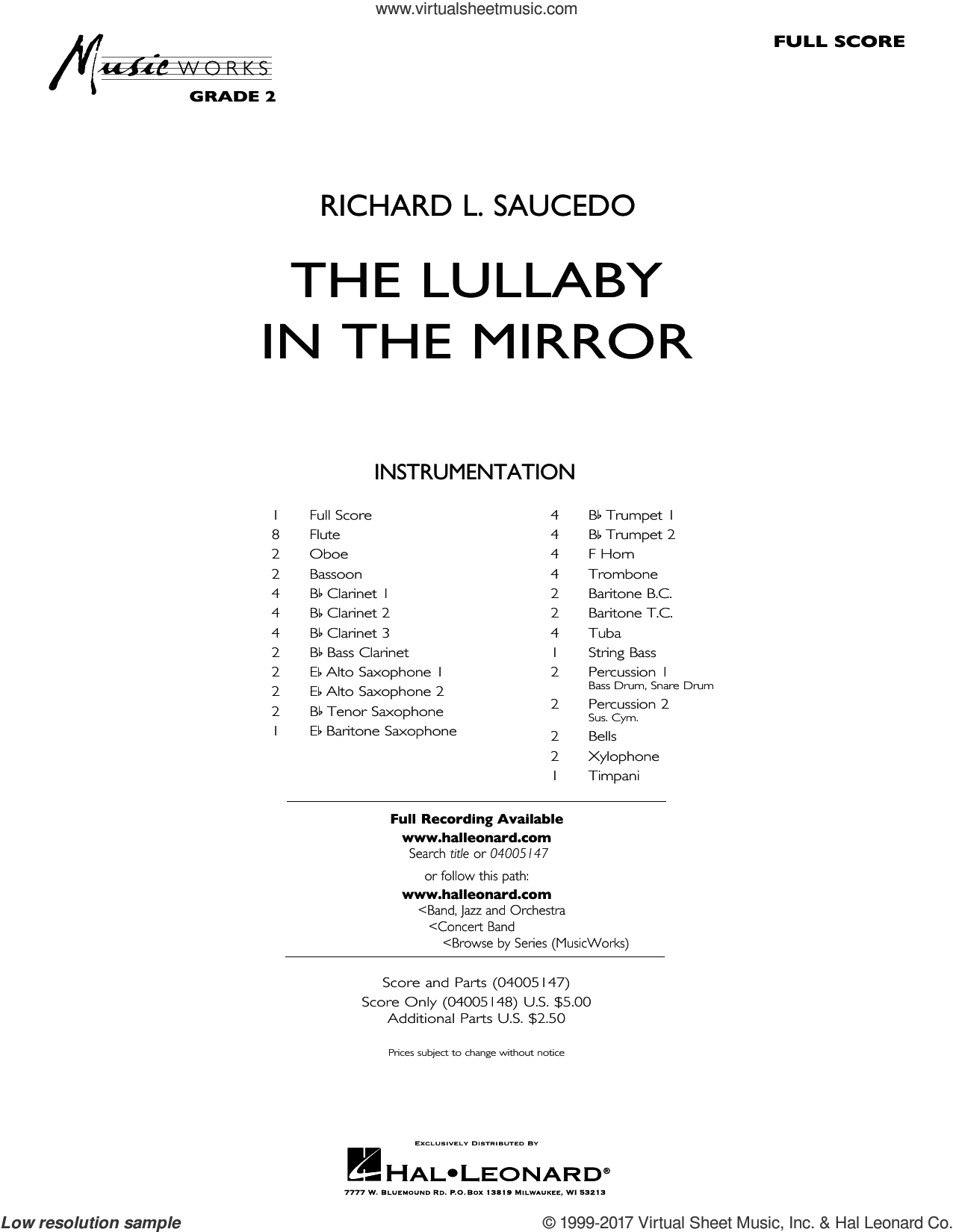 The Lullaby in the Mirror (COMPLETE) sheet music for concert band by Richard L. Saucedo, intermediate skill level