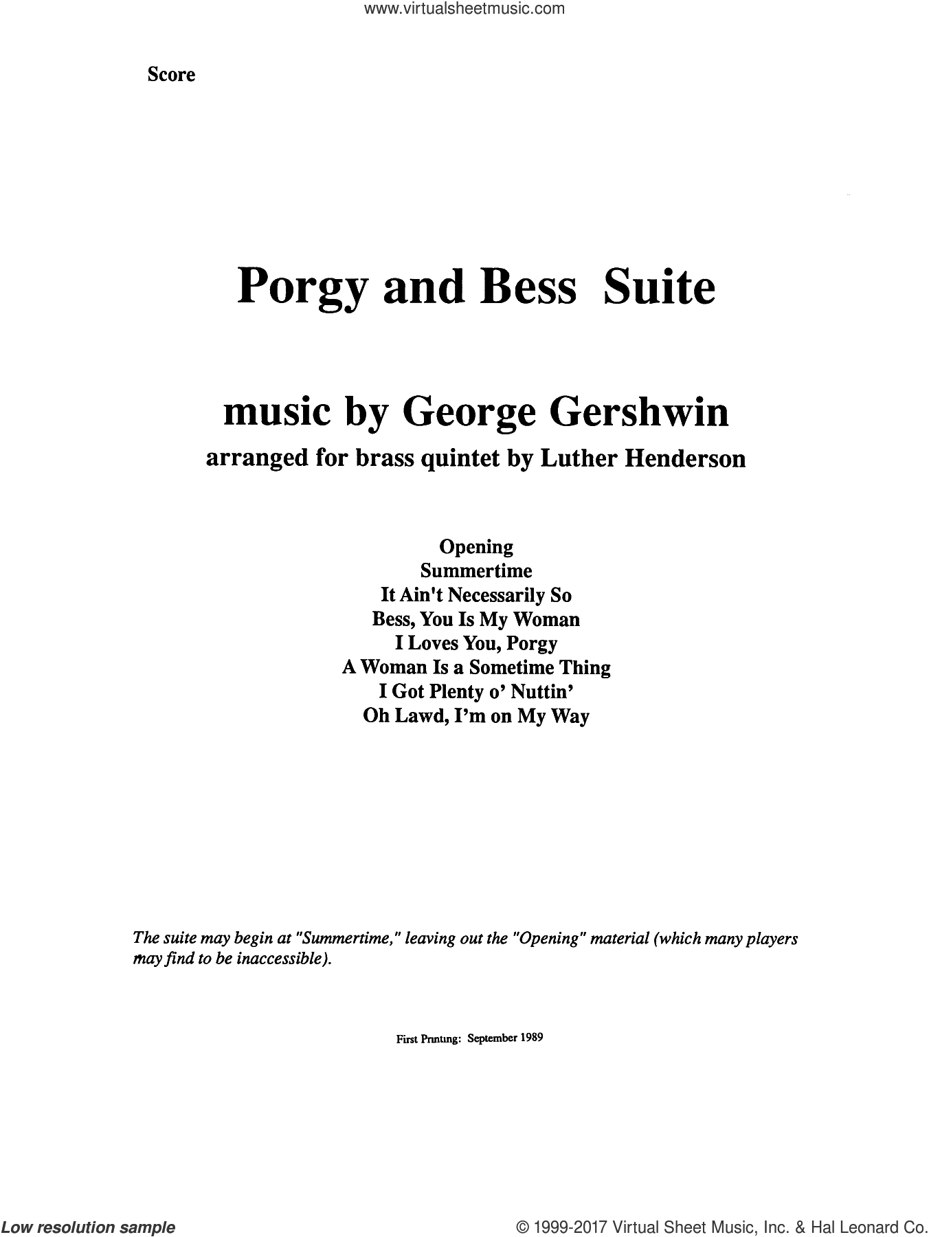 Porgy and Bess Suite (COMPLETE) sheet music for brass quintet by George Gershwin and Luther Henderson, intermediate. Score Image Preview.