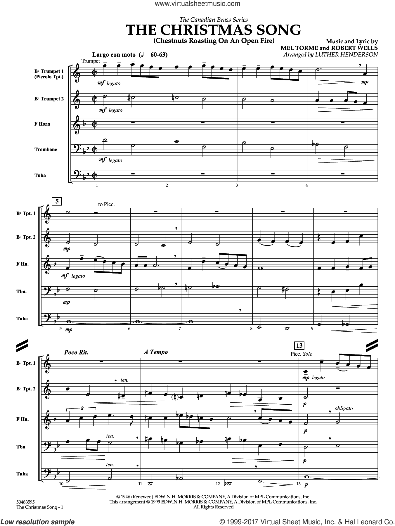 The Christmas Song (Chestnuts Roasting) (COMPLETE) sheet music for brass quintet by Luther Henderson and Mel Torme and Robert Wells, intermediate skill level
